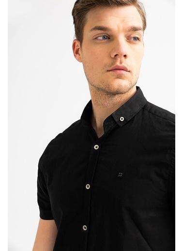Avva Erkek  Düz Düğmeli Yaka Slim Gömlek A01S2210 Siyah